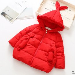 Wholesale Ruffle Girls Coat - Winter children coat kids cute rabbit ruffle hooded velvet coat girls candy pocket zipper thicken warm jacket Kids Christmas outwear R0300