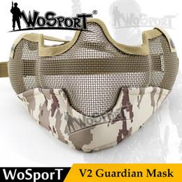 Maschera tattica paintball Tactical V2 Guardian Metal Steel Net Mesh Camouflage Mask per Airsoft Shooting fionda da