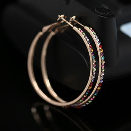 Wholesale Hoop Earrings Diameter - 2015 hot fashion high-grade Hoop Earrings diameter 5.5cm 18 k gold plated with Austrian coloful crystals jewelry