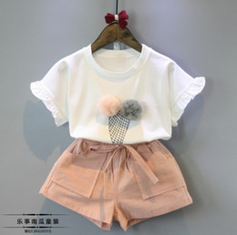Wholesale Ice Cream T Shirts - 5set lot 2016 summer girl suit cute girls summer new ice cream short-sleeved t-shirt + shorts suit 2pcs set girl colothes suit Children wear