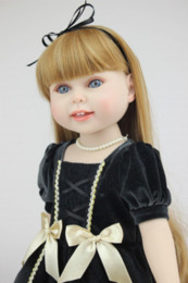 "Wholesale Silicon Baby Dolls - HOT SALE New 18"" full silicon girl dolls similar as American girl cute and pretty American dolls long blond wig sweet"