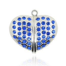Wholesale Usb Flash Drives Heart - HanDisk Blue Lovers Heart Metal Diamond Flash Drive 128MB 1 2 4 16 32 64 128gb Usb Pen Drive Portable Hard Drive Memory stick EU048