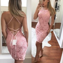 Wholesale Ladies Sexy Image - 2018 Sexy Short Backless Cocktail Party Dresses for Women Lady Wear Lace Sheath Club Wear Special Occasion Above Length Mini Party Gowns