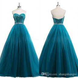 Wholesale Turquoise Sequin Bodice - 2016 Real Pictures Turquoise Blue Soarkling Evening Dresses A Line Sequins Bodice Sweetheart with Beaded Sash Low Zipper Back Floor Length