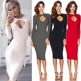 Wholesale Cheap Womens Winter Clothing - 2016 Autumn Winter Long Sleeve Sexy Chest Crossing Hatch Package Buttocks Dress Bodycon Cheap Dresses For Womens Ladies Fashion Clothes