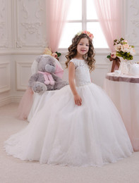 Wholesale Red Pagent Dresses - Newest White BeigeTulle Pagent Girl Dresses Fluffy Wedding Flower Girl Dresses