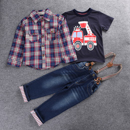 Wholesale england suspenders - Boys outfits spring autumn children boy's gentle suit long sleeve shirts+cotton cars T-shirt tops+suspender overall denim jeans 3pcs sets