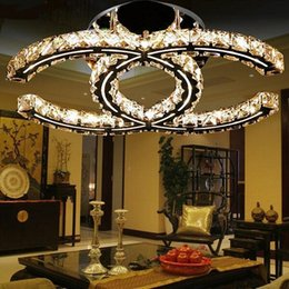 Wholesale Living Room Light Fixture Crystals - LED 15w 18w 35w crystal chandeliers modern led pendant light silver amber flush mount ceiling light fixtures 110-240V for living room