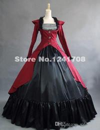 Wholesale Red Colonial - Hot Sale Red Gothic Renaissance Colonial Steampunk Dress Gown Reenactment Costumes Women Renaissance Period Theatre Dresses