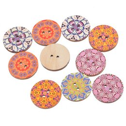 Wholesale Packing Accessories Sale - Hot Sale Random mixed National Wood Button 2 Holes 2.5cm Fit DIY Craft Clothes Accessories Sewing Embroidered Pack Of 50pcs I391L