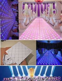 Wholesale Led Wedding Cake Toppers - 60CM *60 cm Shiny LED Wedding Mirror Carpet Aisle Runner T Station Stage Decoration Props white color new free shipping MYY