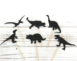 Wholesale magic party cake - 2017 custom glitter black Dinosaur Cupcake Toppers magic toothpicks Birthday wedding bridal baby shower Party Decoration Party Supplies