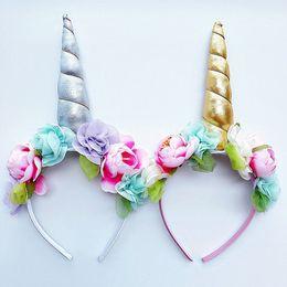 Wholesale Halloween Baby Hair Bows - 2017 Baby Fashion Unicorn Tiaras for Festival Halloween Lovely Cat Ears Girls Hair Sticks Kids Hair Bow Headband