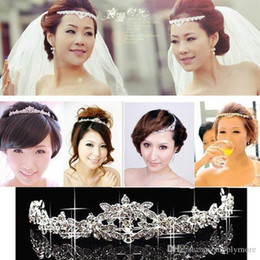 Wholesale Wedding Forehead Jewelry - Wedding Crystals Rhinestones Crown Hair Jewelry Forehead Headpiece Bride free shipping