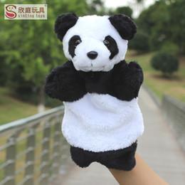 Cerimonia nuziale della panda online-10 pz / lotto Nuovo 25 cm Burattini a mano Cinese tesoro nazionale panda farcito giocattoli di nozze bambole Fodera in rete