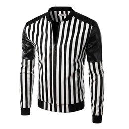 Wholesale Leather Jacket New Arrival - 2017 New Arrival Men Fashion Slim fit Leather Jackets Men Printed zebra-stripe Pu Jackets O Neck men leather jacket