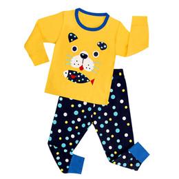 Wholesale Lycra Long Nightwear - 6 sets Baby Ins Pajamas Sleepsuits Dog Yellow Nightwear Fashion Lycra Cotton Nightsuits Long Sleeve Tops Trousers Homewear