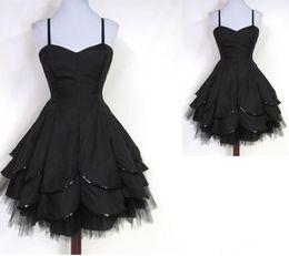 40246673c falda negra del vestido de tulle Rebajas Moda Little Black Homecoming  Dresses 2017 Spaghetti A Line