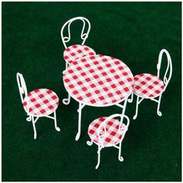 Wholesale Wholesale Dollhouse Table - Wholesale- ABWE Best Sale 1 12 Miniature Metal Wire Table and 4 Chairs Dollhouse Furniture White Checked Cover