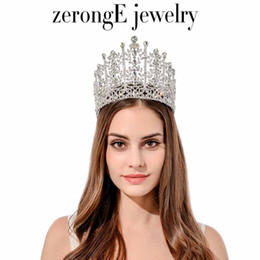 Wholesale tiara miss - Zeronge Jewelry Gorgeous Rhinestone Pageant Drop Wedding Tiara Lady Bridal Tiara Hair Jewelry Band Miss World Event Tiara Crown