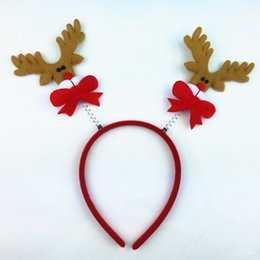 Wholesale Reindeer Antlers Wholesale - Cute Christmas Headband Hot Elk Antlers Reindeer Bell Headwear Hair Band Fashion Plush Xmas Decoration Hairbands 77