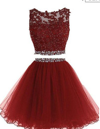 Wholesale Dresses Two Parts - 2017 Red Two Piece Organza Sexy Short Homecoming Dresses with Sequins applique Sleeveless O-Neck bodice and Keyhole Back Formal Evening Part