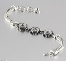 Wholesale Silver Multi Chain Bracelet - NOOSA Silver 12mm Ginger Snaps Antique Multi Chain Bracelet DIY noosa Chunks fashion bracelet 3 buttons