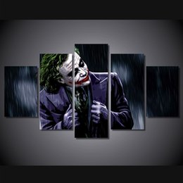 Wholesale Oil Painting Landscapes Dark - 5 Pcs Set Framed Printed the joker the dark knight Painting Canvas Print room decor print poster picture canvas Free shipping ny-4170