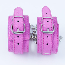 Wholesale Leather Ankle Shackles - Pink Leather Ankle Cuffs Shackles Fetish Bondage Restraints Wrist Sex Toys for Couples Adult Games Sex Products