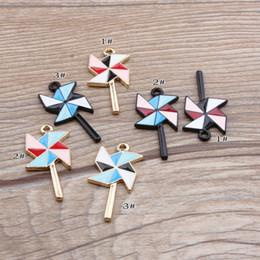 Wholesale Windmill Bracelet - 120pcs lot shiny gold metal colorful windmill charms filled with beautiful enamel for bracelet decoration