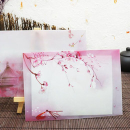 Wholesale Blossom Cards - Envelope Paper Bag Pink Japan Cherry Sakura Blossom Painting Design Artificial Parchment Post Card Free Shipping ZA4856