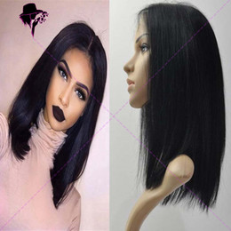 Wholesale Long Bob Cut Wigs - Brazilian human virgin hair bob cut wigs short lace front wigs glueless full lace wig with bangs for black women