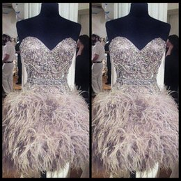 Wholesale Dark Green Homecoming Dresses - 2016 Short Silver Prom Dresses With Feathers Sweetheart Neck Corset Graduation Homecoming Dress Beading Crystal Cocktail Girls Gowns