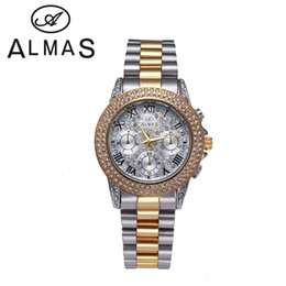 Wholesale Gold Plated Ladies Watches - New Women Fashion Bling Crystal Stainless Steel Faux Chronograph Round IPG Plated Rome Digite Retro Ladies Watches