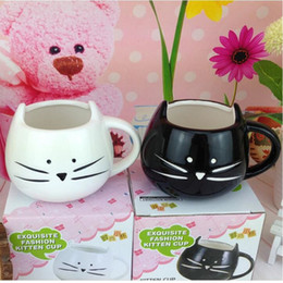 Wholesale Black Wholesale Ceramic Coffee Cups - Creative White Black Cat Animal Milk Coffee Juice Breakfast Cup Ceramic Lovers Mug With Handle Drinkware Best Gift ZA1289