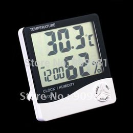 Wholesale Digital Hygrometer Clock - New LCD Digital Thermometer Hygrometer HTC-1 Temp & Humidity Clock Portable Temperature And Humidity Tester Free Shipping