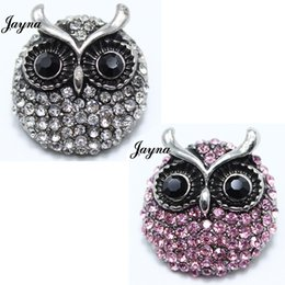 Wholesale Metal Owl Charms - 18 20mm Snaps Jewelry Rhinestone owl style metal snaps buttons For Ginger Button Snap Jewelry bracelets Jaynalee snaps jewelry GS1208094