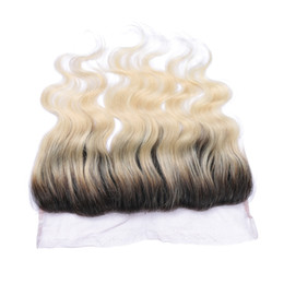 Wholesale Ombre Hair Sale - Hot Sale 613 Ombre Hair Lace Frontal Body Wave Brazilian Human Hair 1B 613 Blonde Ombre Ear to Ear Lace Frontal Closure