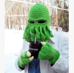 Wholesale Day Tentacle - Funny Crochet Hat Caps Tentacle Octopus Cthulhu Knit Beanie Hat Cap Wind Ski Mask Winter Hats Mens Hat Fashion Hats Christmas Gift 634