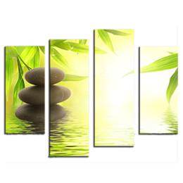 Wholesale Bamboo Canvas Art - Amosi Art-4 Pieces Canvas Prints Wall Art Stone Bamboo Canvas Print Stone, Bamboo Photo Canvas Art for Home Wall Decoration(Wooden Framed)