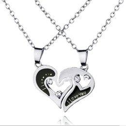 Wholesale Love Gift Two Lovers - 2pcs set Lovers necklace I love you 2in1 Lettering pendant two splicing Combo Combined into to one Hollow Peach Heart Couple necklace x290