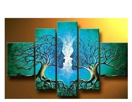 Wholesale Kissing Paintings - 100% Hand Painted Oil Paintings Lover Tree Kissing 5 Panels Unframed Canvas Art For Living Room Wall Pictures Home Decoration