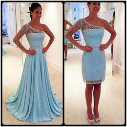 Wholesale vintage one piece full dress - 2017 Sky Blue Long One Shoulder Prom Dresses Full Sleeves Crystals Pleats Party Dress Two Pieces Detachable Train