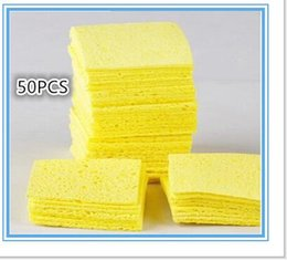 Wholesale Temperature Solder Iron - 50pcs High Temperature Enduring Condense Electric Welding Soldering Iron Cleaning Sponge(3.5*4.5cm) Yellow Hot