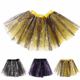 Wholesale Dance Petti Skirt - Children Kid Baby Girls Spider Web Print Skirt 3 Layer Tutu Party Ballet Dance Skirt Petti Skirt Clothes 2-7 Years