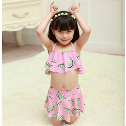 Wholesale Cute Girl Toddler Clothes - Kids Bikini Girls Two pieces Swimwear Swimsuit Children cute watermelon Swimming suit Baby Bathing suit Toddler Summer Clothing Gifts 2016