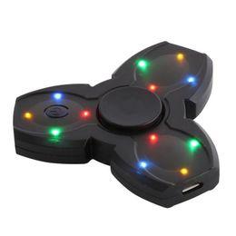 LED Bluetooth Altoparlante musicale Mano Fidget Spinner USB Ricarica Fingertip Gyro Spinner antistress per bambini Adulti Giocattoli Regali da