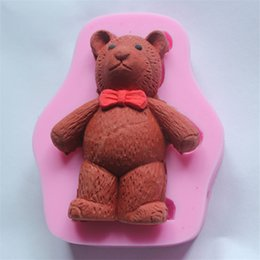 Wholesale Tie Chocolate Mold - Silicone 3D Cake Moulds Cute Bear with Tie Fondant Mold Bakeware Dining Bar chocolate sugarcraft moule WHOLESALE