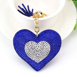 Wholesale Leather Tassels Wholesale - 2018 New Heart Shape Leather Tassels Plated Fashion New Style Crystal Shinning Keychain Key Ring Jewelry For Lovers Friends