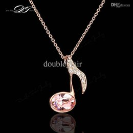Wholesale Gold Music Pendants - Simple Elegant Music Note Vintage Necklaces & Pendants 18K Gold Plated Imitation Gemstone Crystal Party Jewelry For Women DFN110